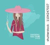 vector girl smokes.   Shutterstock .eps vector #1104247037