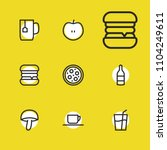 meal icons set with tea mug ...