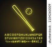 baseball bat and ball neon... | Shutterstock .eps vector #1104260009