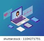 3d isometric telemedicine flat... | Shutterstock .eps vector #1104271751