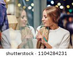 blonde girl wearing white... | Shutterstock . vector #1104284231