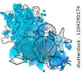 vector seashells at blue... | Shutterstock .eps vector #1104290174