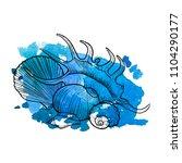 vector seashells at blue...   Shutterstock .eps vector #1104290177