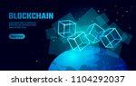 blockchain cube chain symbol on ... | Shutterstock .eps vector #1104292037
