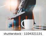 double exposure businessman...   Shutterstock . vector #1104321131