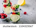 infused detox water with lemon... | Shutterstock . vector #1104325067
