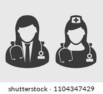 doctor and nurse icon on gray...   Shutterstock .eps vector #1104347429