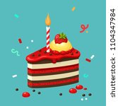 vector icon of a birthday cake... | Shutterstock .eps vector #1104347984