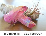 rose pink aura crystal cluster  ...   Shutterstock . vector #1104350027