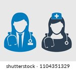 female doctor and nurse icon on ...   Shutterstock .eps vector #1104351329