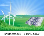 Illustration of wind turbines and solar panels generating renewable energy - stock photo