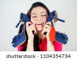 beautiful smiling brunette... | Shutterstock . vector #1104354734