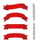 red ribbons set. red banners.... | Shutterstock .eps vector #1104356297