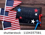 american flags and wooden frame ... | Shutterstock . vector #1104357581