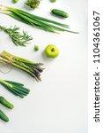 green vegetables wide flat lay... | Shutterstock . vector #1104361067