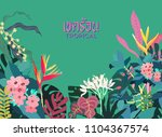tropical hibiscus and geometric ... | Shutterstock .eps vector #1104367574