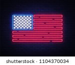 usa flag neon sign. night... | Shutterstock . vector #1104370034