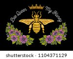 bee crown flowers embroidery... | Shutterstock .eps vector #1104371129