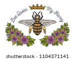 bee crown flowers embroidery... | Shutterstock .eps vector #1104371141
