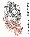 hand drawn beautiful mermaid...   Shutterstock .eps vector #1104389171