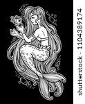hand drawn beautiful mermaid... | Shutterstock .eps vector #1104389174