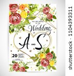 wedding floral template invite  ... | Shutterstock .eps vector #1104393311