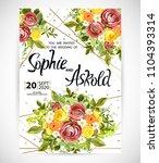 wedding floral template invite  ... | Shutterstock .eps vector #1104393314