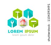 house and work tools as logo... | Shutterstock .eps vector #1104393491