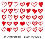 big set of red grunge hearts.... | Shutterstock .eps vector #1104404291