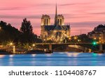 the notre dame cahedral at... | Shutterstock . vector #1104408767