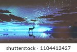 silhouette of the deer walking...   Shutterstock . vector #1104412427