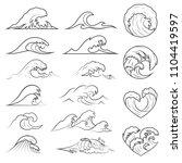 ocean waves collection. sea... | Shutterstock .eps vector #1104419597