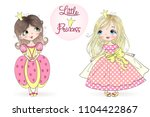two hand drawn beautiful  cute  ... | Shutterstock .eps vector #1104422867