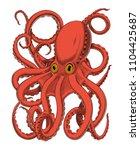 octopus or kraken hand drawing... | Shutterstock .eps vector #1104425687