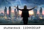 young woman looking over the...   Shutterstock . vector #1104430169