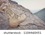 close up of trekking shoes on... | Shutterstock . vector #1104460451