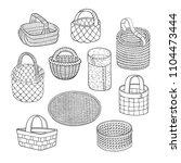 set of cartoon line art vector... | Shutterstock .eps vector #1104473444