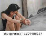 portrait torture  depressed... | Shutterstock . vector #1104485387