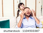 father with little daughter... | Shutterstock . vector #1104503387