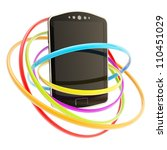 Smart mobile phone concept surrounded with colorful glossy rings isolated on white - stock photo