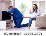 tv repairman technician... | Shutterstock . vector #1104513701