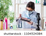 lab chemist checking beauty and ... | Shutterstock . vector #1104524384