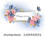 narrow banner with pink roses ... | Shutterstock .eps vector #1104543521