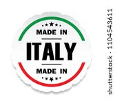 made in italy flag button label ...   Shutterstock . vector #1104543611