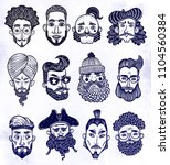 set of bearded men faces of... | Shutterstock .eps vector #1104560384