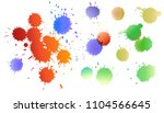 set of watercolor colored drops ... | Shutterstock .eps vector #1104566645