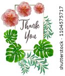 botanic card with monstera leaf ... | Shutterstock .eps vector #1104575717