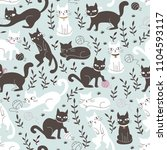 Stock vector cute seamless pattern with cats in doodle style hand drawn vector illustration 1104593117