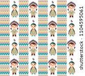 american indians kawaii boy and ... | Shutterstock .eps vector #1104595061