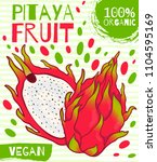 vector drawn label for pitaya... | Shutterstock .eps vector #1104595169